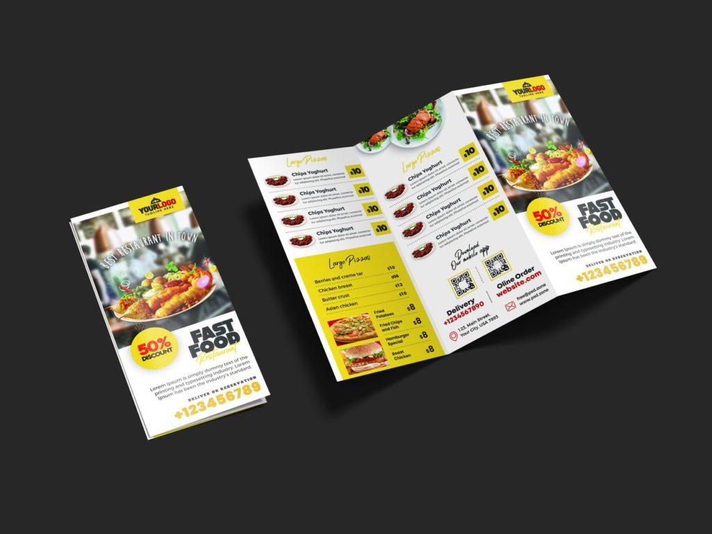 Ulotka składana z menu restauracji